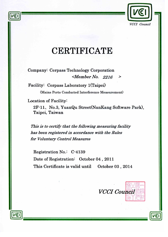 TP-VCCI (Conduct) No. C-4139
